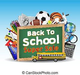 学校, 背中, オブジェクト, 黒板, 教育, セール
