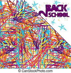 学校, 背中, 背景