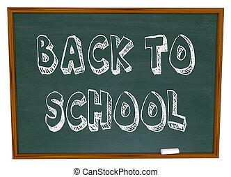 学校, -, 背中, 言葉, 黒板