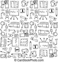 学校, 芸術, クリップ, いたずら書き, ドロー, 手