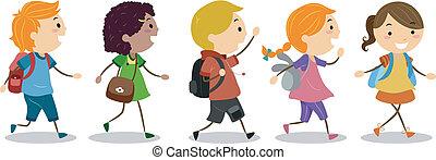 学校, 行く, 子供