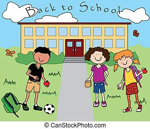 学校, 行く, 背中, 子供