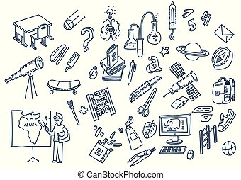 学校, 要素, いたずら書き, 手, 勉強, 引かれる, 教育