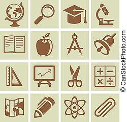 学校, 要素, アイコン, 大学, -, コレクション, ベクトル, デザイン