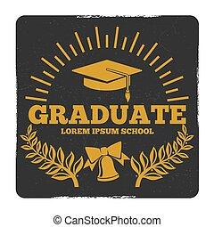 学校, 離れて, 卒業, 卒業生, 高く, ベクトル, 大学, グランジ, ラベル, logo.