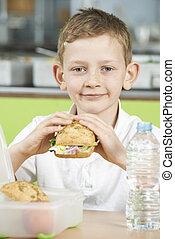 学校, 食べること, モデル, 健康に良い昼食, 生徒, カフェテリア, パックされた