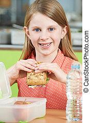 学校, 食べること, モデル, 健康に良い昼食, 生徒, 女性, テーブル, カフェテリア, パックされた