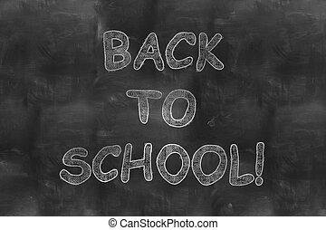 学校, 黒, 背中, 黒板
