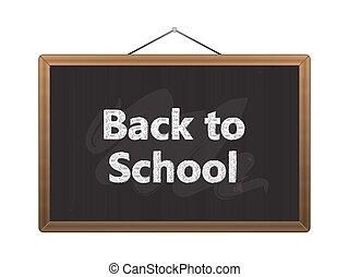 学校, 黒, 黒板, 背中