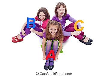 学校, abc, 手紙, 女の子, 若い, 保有物