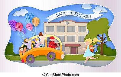 学校, card., 9 月, バス, 背中, 1, 子供