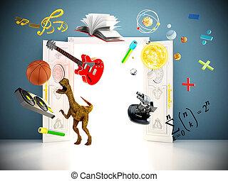 学校, door., 飛行, イラスト, オブジェクト, から, 表すこと, 主題, 3d