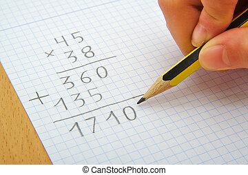 学校, math., concept., 手, 子供, 乗算, 作成, pencil.