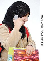 学校, muslim, 背中, 女の子, 勉強