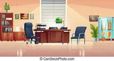 学校, principals, ベクトル, オフィスの内部