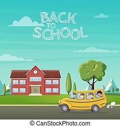 学校, school., バス, の上, イラスト, 背中, 引き, 子供