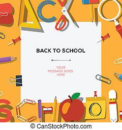 学校, school's, 季節, セール, 背中, テンプレート, 供給