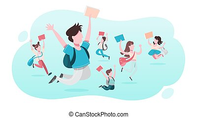 学校, set., コレクション, 子供, 跳躍, 楽しみ, 持つこと, 子供