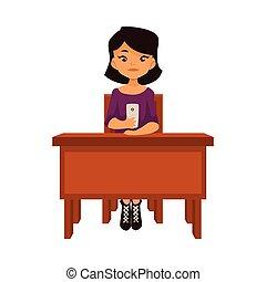 学校, smartphone, モデル, アジア人, 机, 女の子