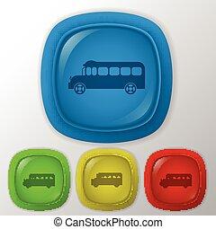学校, study., シンボル, bus., 輸送, アイコン