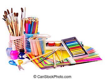 学校, supplies., 背中
