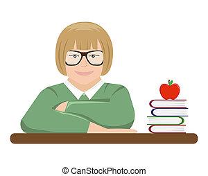 学校, textbooks., イラスト, の後ろ, 学生, 机