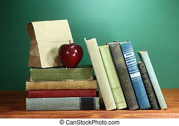 学校,  themed, イメージ, 背中, 緑, 背景