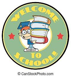 学生, ∥で∥, テキスト, 歓迎, へ, 学校