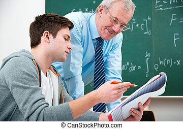 学生, ∥で∥, a, 教師, 中に, 教室