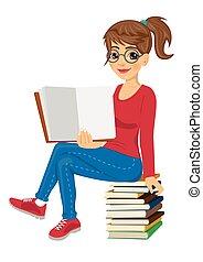学生, モデル, 提示, 若い, 教科書, 本, 女性, 開いた, 山, ガラス