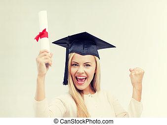 学生, 中に, 卒業式帽子, ∥で∥, 証明書