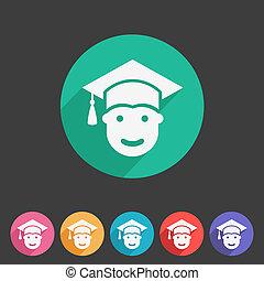 学生, 中に, 卒業式帽子, 平ら, アイコン