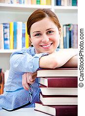 学生, 中に, a, 図書館