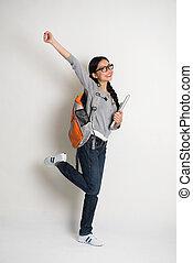 学生, 喜び, ラップトップ, 若い, 跳躍, アジアの女性