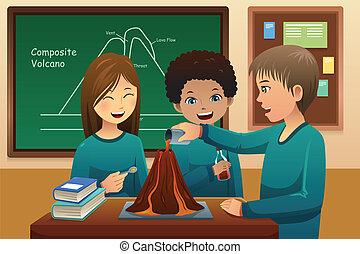 学生, 基本, 实验, 火山