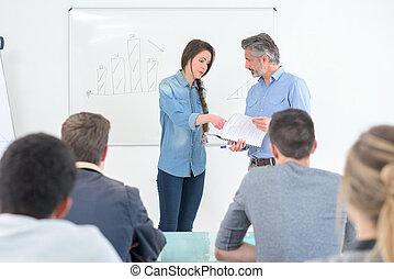 学生, 女の子, ∥で∥, 教師, 中に, 教室
