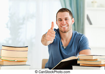 学生, 完成, 他的, 书, 报告