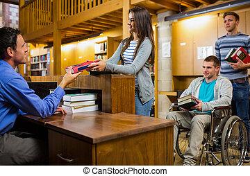 学生, 带, 阻碍, 人, 在, the, 图书馆, 计数器