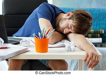 学生, 後で, 睡眠, 勉強
