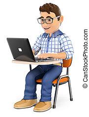 学生, 类别, 笔记本电脑, 3d