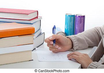学生, 試験, 勉強, 数学