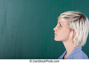 学生, 黒板, 若い, 女性, 前部
