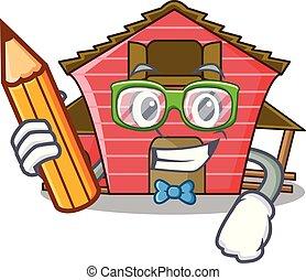 学生, a, 赤い納屋, 家, 特徴, 漫画