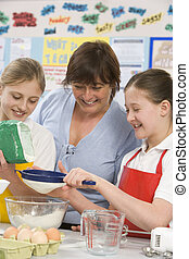 学童, そして, 教師, ∥において∥, 学校, 中に, a, 料理, クラス