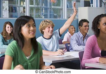 学童, 中に, 高校, クラス