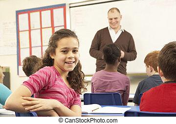 学童, 勉強, 中に, 教室, ∥で∥, 教師