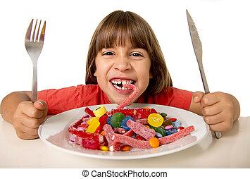 孩子吃, 糖果, 相象, 瘋狂, 在, 糖, 濫用, 以及, 不健康, 甜, 營養, 概念