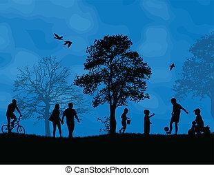 孩子玩, 在中, a, 公园