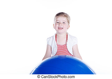 孩子玩, 由于, 体操球