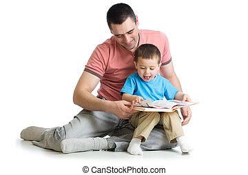 孩子男孩, 以及, 他的, 爸爸, 閱讀, a, 書